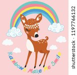 cute deer with rainbow and... | Shutterstock .eps vector #1197766132
