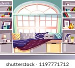 bay bow window seat at home... | Shutterstock .eps vector #1197771712