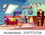 teen boy kid attic room... | Shutterstock .eps vector #1197771718