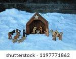 wooden christmas nativity scene ...   Shutterstock . vector #1197771862