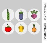 vegetables flat vector icons... | Shutterstock .eps vector #1197794968