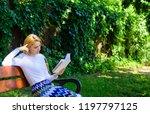 lady pretty bookworm busy read... | Shutterstock . vector #1197797125