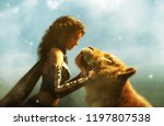 woman with giant tiger fantasy... | Shutterstock . vector #1197807538
