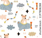 seamless pattern with bears... | Shutterstock .eps vector #1197808288
