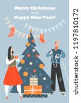 christmas card in cartoon style.... | Shutterstock .eps vector #1197810172