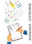 doctor writing notes on a... | Shutterstock .eps vector #1197815818