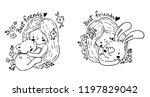set of cute little girl and...   Shutterstock .eps vector #1197829042