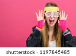 woman in 1980's fashion theme... | Shutterstock . vector #1197845485