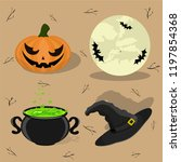 cute vector set with halloween... | Shutterstock .eps vector #1197854368