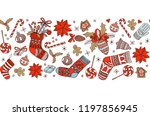 merry christmas doodle seamless ... | Shutterstock . vector #1197856945