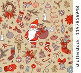 merry christmas doodle seamless ... | Shutterstock . vector #1197856948