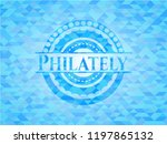 philately sky blue mosaic emblem | Shutterstock .eps vector #1197865132