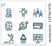 simple set of  9 outline icons... | Shutterstock .eps vector #1197867478