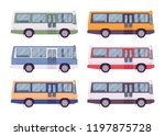 bus set in bright colors.... | Shutterstock .eps vector #1197875728