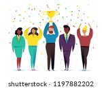 win concept with characters.... | Shutterstock .eps vector #1197882202