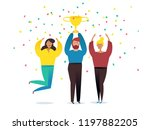 win concept with characters.... | Shutterstock .eps vector #1197882205