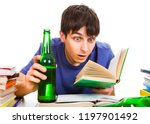 surprised student with a beer... | Shutterstock . vector #1197901492
