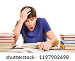 shocked student with a books... | Shutterstock . vector #1197902698