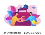 two business partners shaking...   Shutterstock .eps vector #1197927298