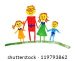 happy family. watercolor drawing | Shutterstock . vector #119793862