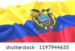 3d render  realistic wavy flag... | Shutterstock . vector #1197944635