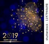 golden lights abstract on blue... | Shutterstock .eps vector #1197944698