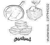 hand drawn sketch of cornbread... | Shutterstock .eps vector #1197945232