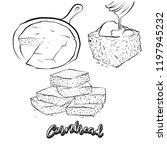 Stock vector hand drawn sketch of cornbread bread vector drawing of cornbread food usually known in america 1197945232