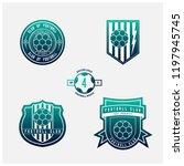 set of football or soccer... | Shutterstock .eps vector #1197945745