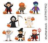 set of happy halloween. funny...   Shutterstock .eps vector #1197957952