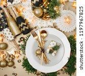 christmas table setting. gold... | Shutterstock . vector #1197967825