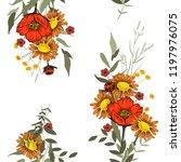retro wild seamless flower... | Shutterstock .eps vector #1197976075