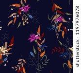 tropical vector seamless flower ... | Shutterstock .eps vector #1197976078