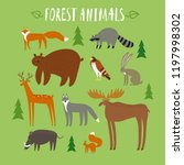 cute forest animals cartoon set.... | Shutterstock .eps vector #1197998302