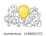 cartoon little people with lamp ... | Shutterstock .eps vector #1198002172