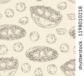seamless pattern with falafel... | Shutterstock .eps vector #1198010218