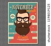no shave november poster design ... | Shutterstock .eps vector #1198019125