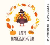 happy thanksgiving day. cute... | Shutterstock .eps vector #1198026658