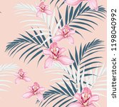 pink orchids and tropical... | Shutterstock .eps vector #1198040992