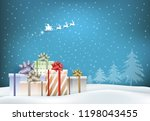 paper art of gift boxes and... | Shutterstock .eps vector #1198043455
