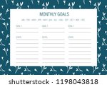 monthly goals template. vector... | Shutterstock .eps vector #1198043818
