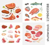 different kind of meat food... | Shutterstock .eps vector #1198045588