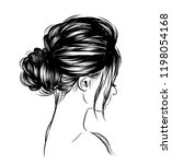 woman with stylish classic bun... | Shutterstock .eps vector #1198054168