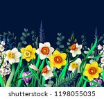 Border With Daffodils And Wild...