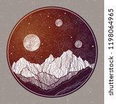 hand drawn extraterrestrial...   Shutterstock .eps vector #1198064965
