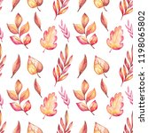 watercolor autumn leaves pattern | Shutterstock . vector #1198065802