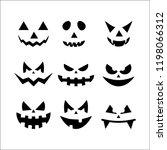 halloween scary pumpkin faces | Shutterstock .eps vector #1198066312