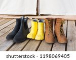 close up of three pair of shoes ...   Shutterstock . vector #1198069405