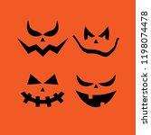 set of pumpkin faces | Shutterstock .eps vector #1198074478