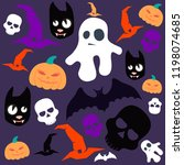 large set of happy halloween | Shutterstock .eps vector #1198074685